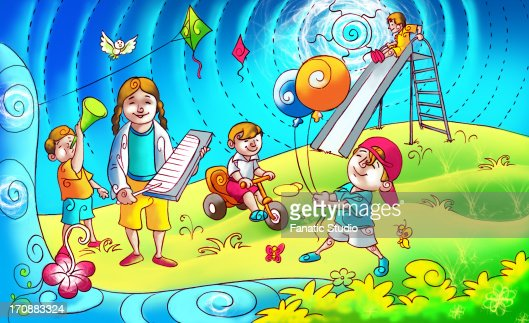 Children Playing In A Garden Stock Illustration | Getty Images