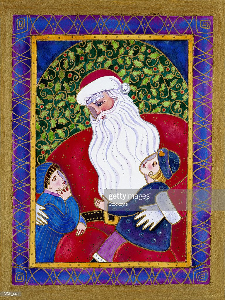 Children Sitting on Santa's Lap : Stock Illustration