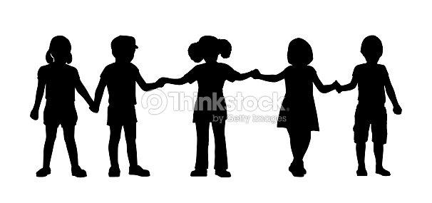 Set di 8 modelli di bambini in piedi illustrazione stock - Schattenbilder kinder ...