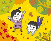 Children watching falling leaves, Painting, Illustration, Illustrative Technique, High Angle View