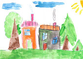 Child's drawing. Country house and trees. Watercolor painting