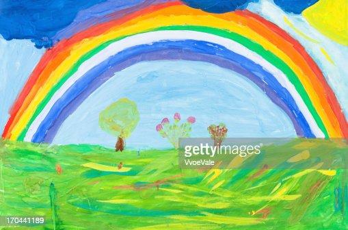 child's paiting - rainbow under green earth : Stock Illustration