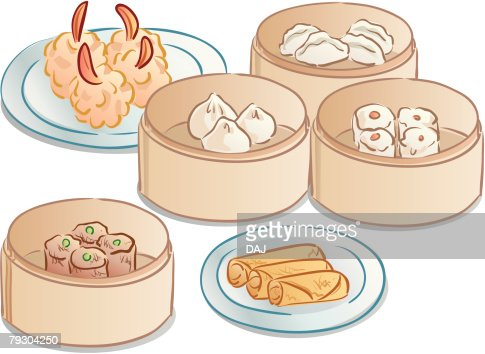 Chinese Meal in bamboo steamers : Vector Art