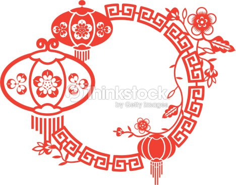 chinese new year and mid autumn festival frame vector art