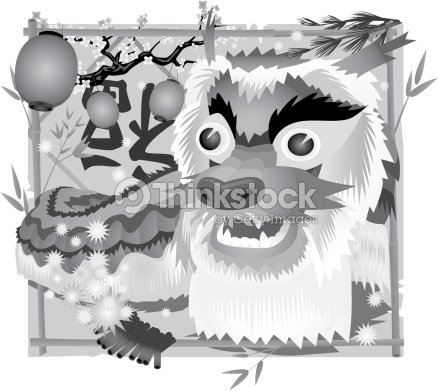 chinese new year dragon grayscale vector art