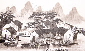 Chinese painting water town