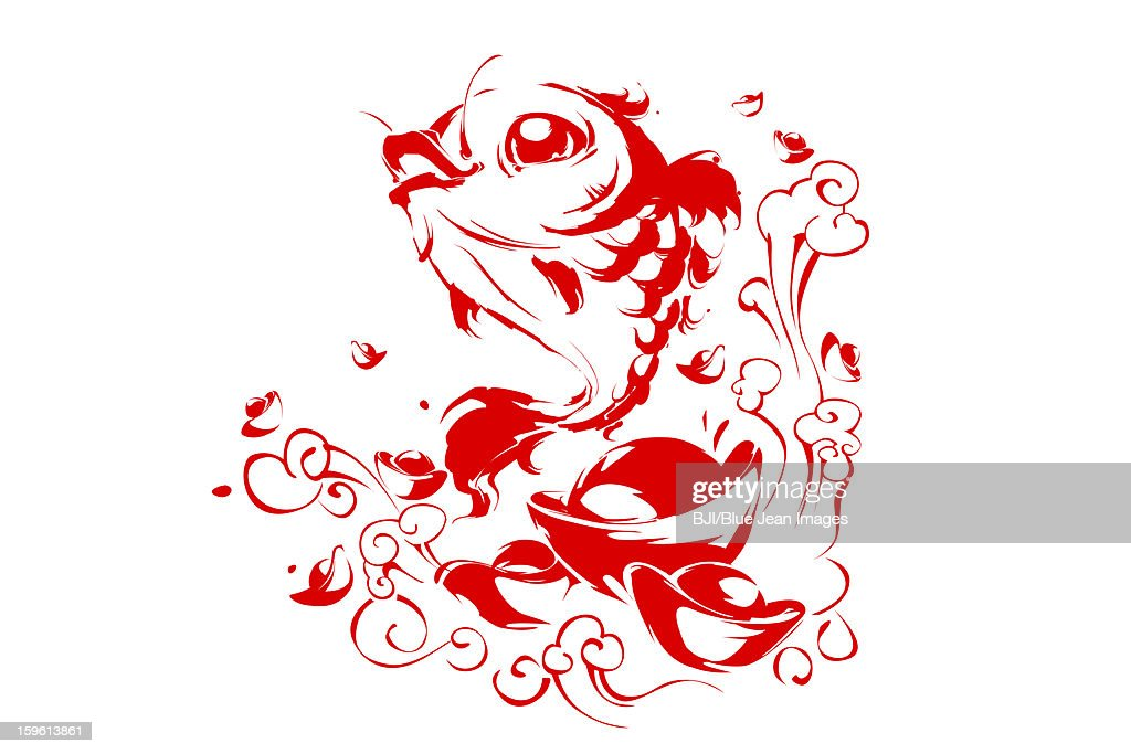 Chinese traditional painting of carp and currency Yuanbao in wave : Stock Illustration