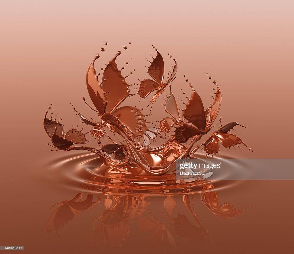 Chocolate Butterflys Splash. : Stock Illustration