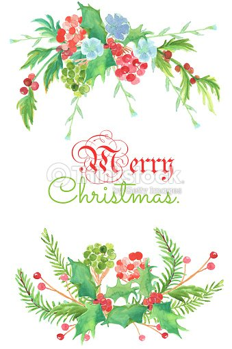 Christmas And New Year Card Watercolor Clip Art Is Two Bouguet With ...