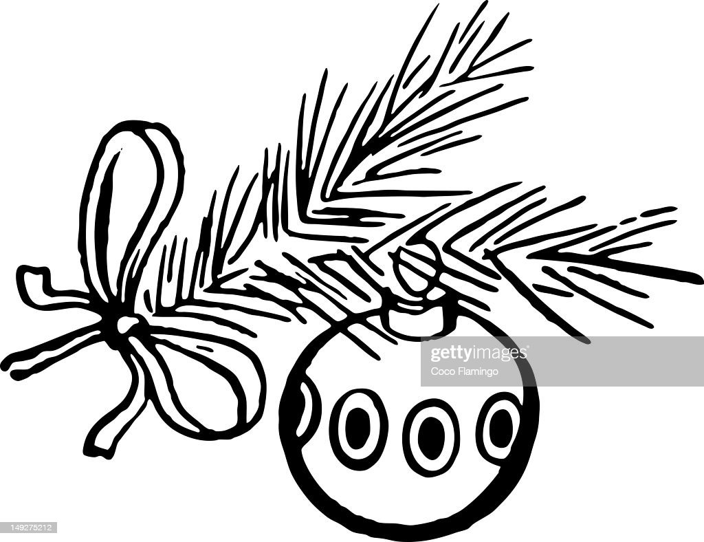 A Christmas bauble on a tree branch : Stock Illustration