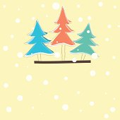 christmas card with color tree . vector illustration
