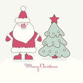 Christmas card with Santa and Christmas tree. Vector illustration