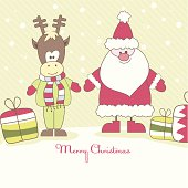 Christmas card with Santa, Reindeer and colorful gift boxes. Vector illustration