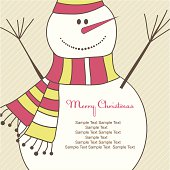 Christmas card with smiling snow man. Vector illustration