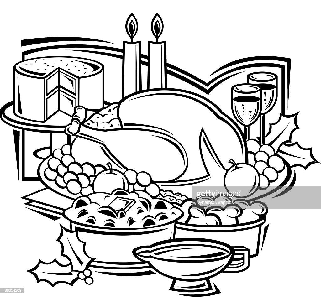 christmas dinner grouped elements vector art thinkstock rh thinkstockphotos co uk christmas dinner clipart black and white christmas dinner clip art free images