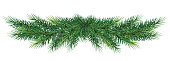 Christmas garland. Beautiful evergreen garland of Xmas tree branches isolated without shadow.  Home decoration for winter celebration. Christmas graphic.