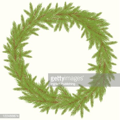 Christmas green Wreath with  FurVector illustrationtree. Vector illustration : Vector Art