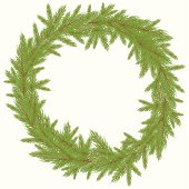 Christmas green Wreath with  FurVector illustrationtree. Vector illustration