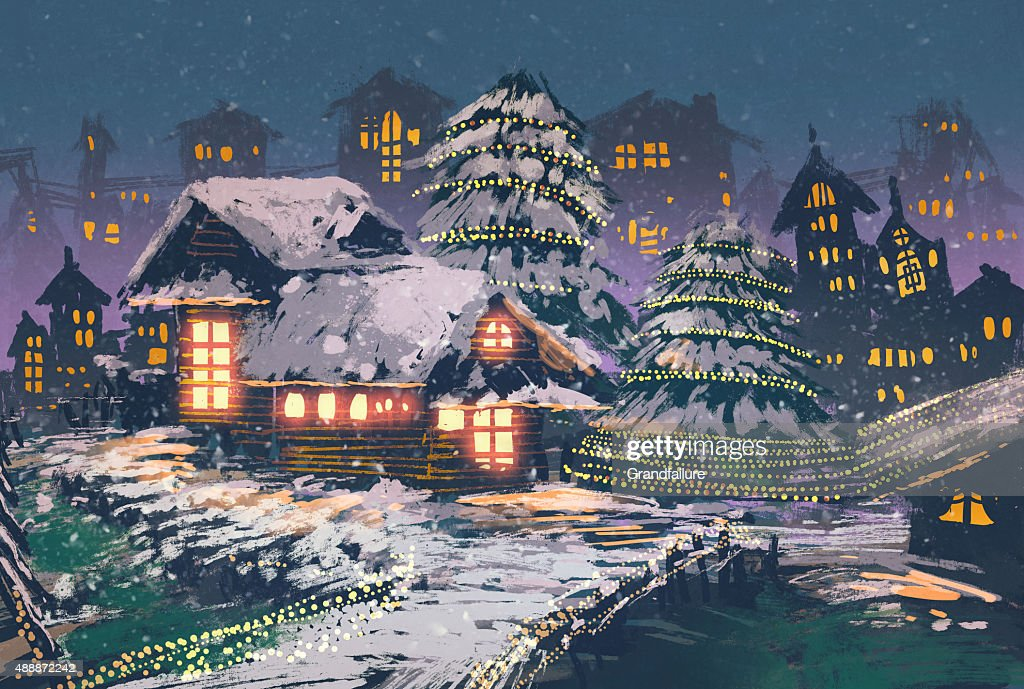 Christmas night scene of wooden houses with a christmas lights