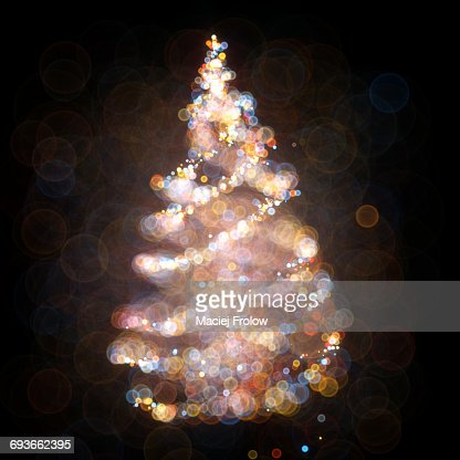 Christmas tree made of bokeh dots