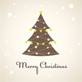 Christmas tree with colourful decoration. Vector illustration