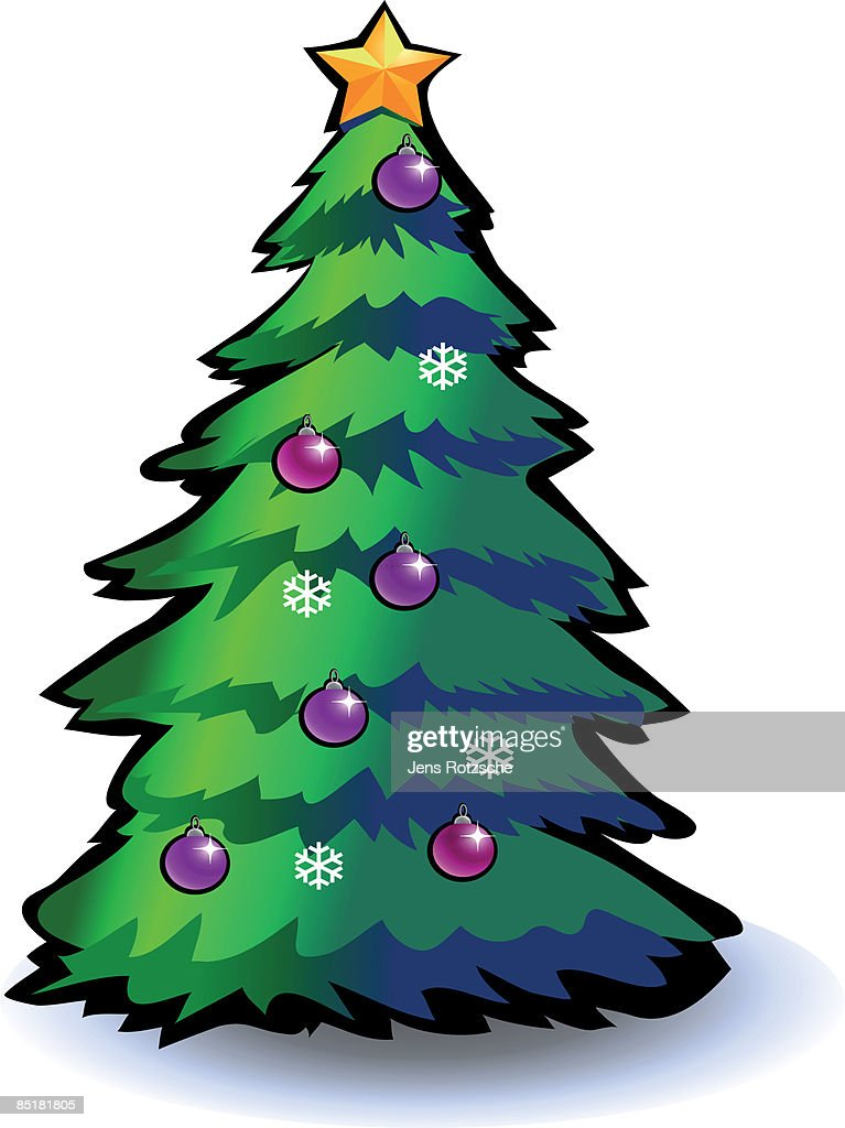 A Christmas tree with ornaments, snowflakes and a star : Stock Illustration