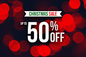 Christmas Up To 50% Off Sale Horizontal Holiday Advertisement Over Red Bokeh Lights Background