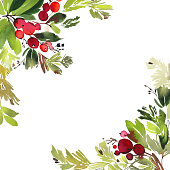 Christmas with berries watercolor postcard