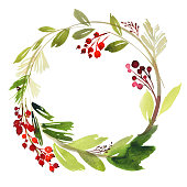 Christmas wreath with berries watercolor postcard