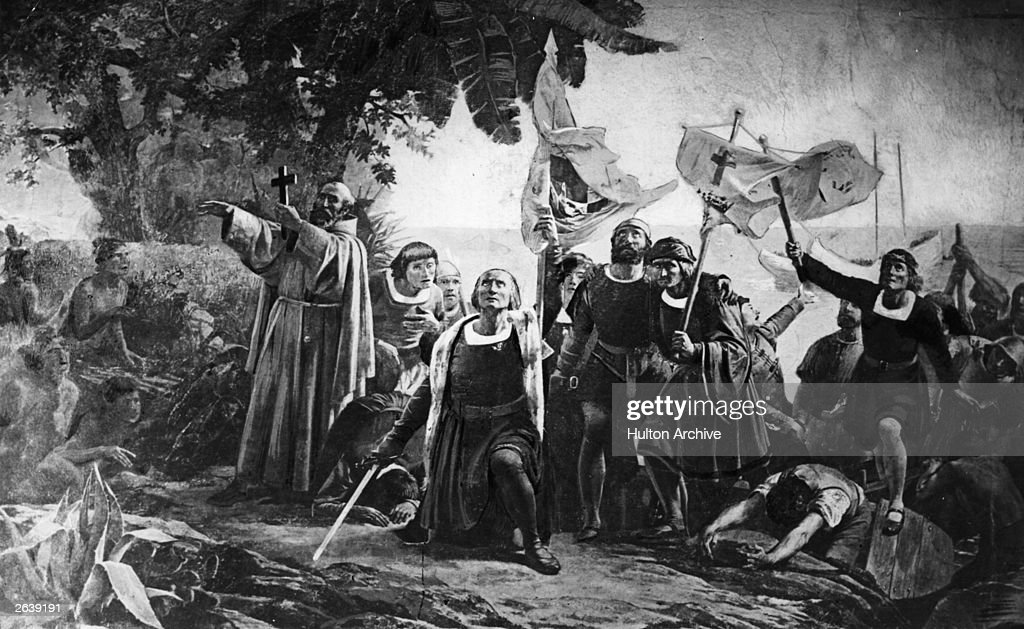 Christopher Columbus landing in America with the Piuzon Brothers bearing flags and crosses, 1492. Original Artwork: By D Puebla