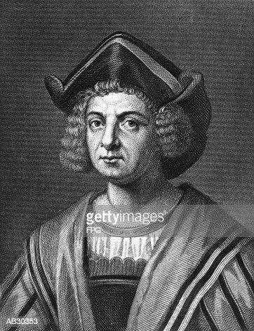 Christopher Columbus (1446?-1506), Spanish explorer (B&W) : Fine art