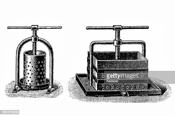 Cider Press, vintage engraving