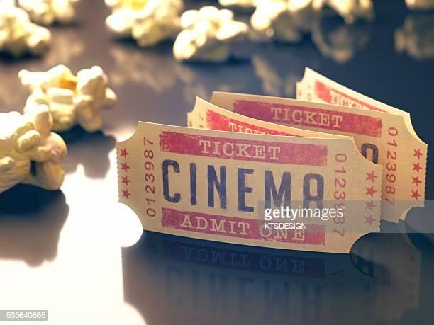 Cinema tickets and popcorn, illustration