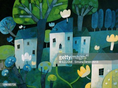 Cinguettio nel bosco : Stock Illustration
