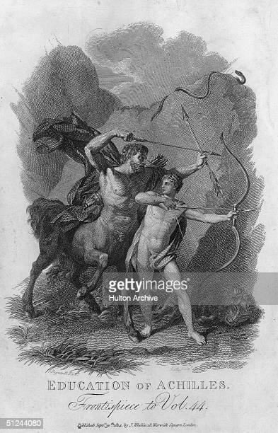 Circa 1000 BC The wise centaur Chiron tutors Achilles in archery on Mount Pelion The snake above them is a grim reminder that one day both will be...