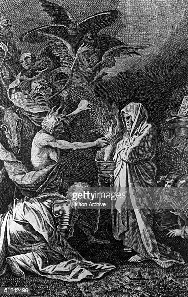 Circa 1100 BC The scene in the cave at Endor from the Bible Samuel 1 verse 28 when the witch at Saul's request calls up an apparition of Samuel as an...