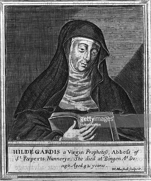 Circa 1150 German composer and abbess of St Rupert's Mount Hildegard von Bingen whose writings were inspired by visions Original Artwork Engraving by...