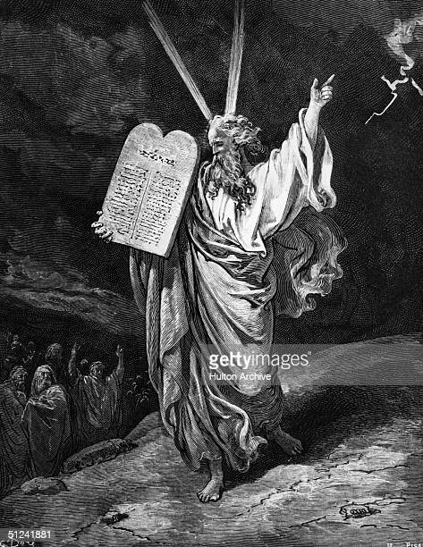 Circa 1200 BC Moses carrying the stone upon which the Ten Commandments are engraved