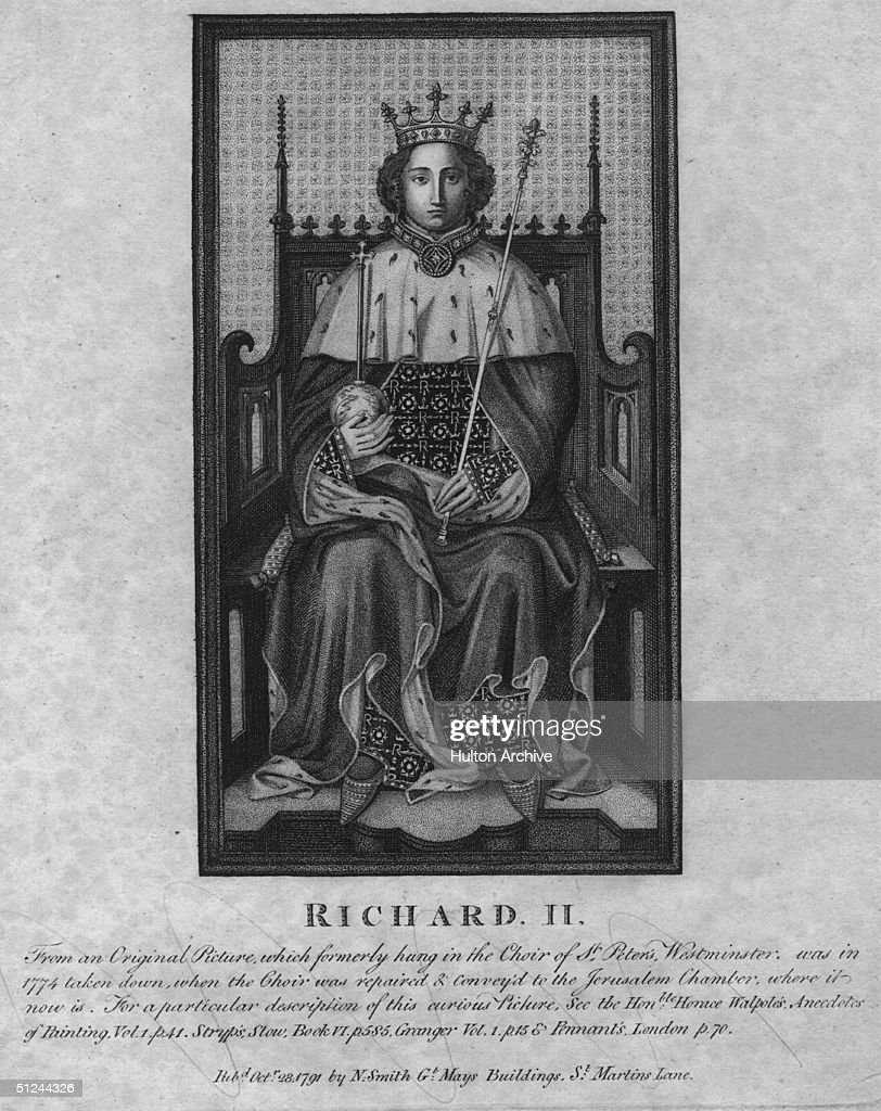 Circa 1377, Richard II (1367 - 1400), King of England from 1377 to 1399. Son of Edward the Black Prince he succeeded his grandfather Edward III. He was deposed by Henry of Lancaster in 1399 and sent to the Tower. It is presumed that he was murdered at Pontefract Castle in early 1400.