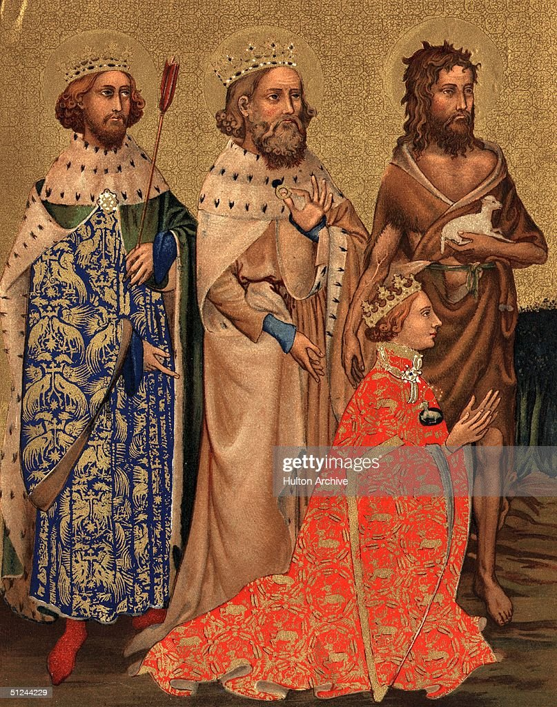 Circa 1395, Richard II (1367 - 1400), King of England, son of the Black Prince, kneels wearing the emblem of the white hart. Behind him, L-R, Saint Edmund, last king of the Angles, Edward the Confessor (c.1003 - 1066), and Saint <a gi-track='captionPersonalityLinkClicked' href=/galleries/search?phrase=John+The+Baptist&family=editorial&specificpeople=78611 ng-click='$event.stopPropagation()'>John The Baptist</a>. Original Artwork: Left hand panel of the 'Wilton Diptych' in the National Gallery, London.