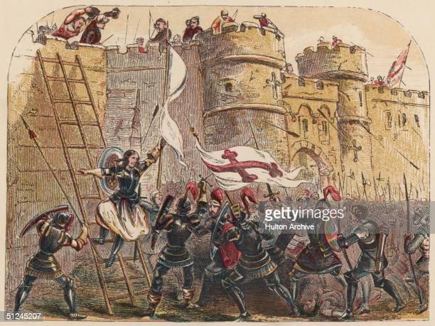Circa 1429 St Joan of Arc known as the Maid of Orleans leads her army as she scales the walls of the Fortress of Tournelles Her inner voices moved...