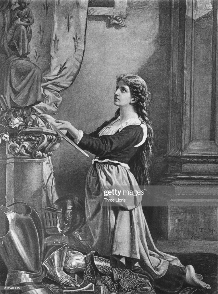 Circa 1430, Joan of Arc (1412 - 1431) at the feet of a statue of the Virgin Mary offering up her sword. Her inner voices moved her to ask the dauphin (later Charles VII of France) to let her fight the English in 1428. She drove the English from Orleans in 1429, cause