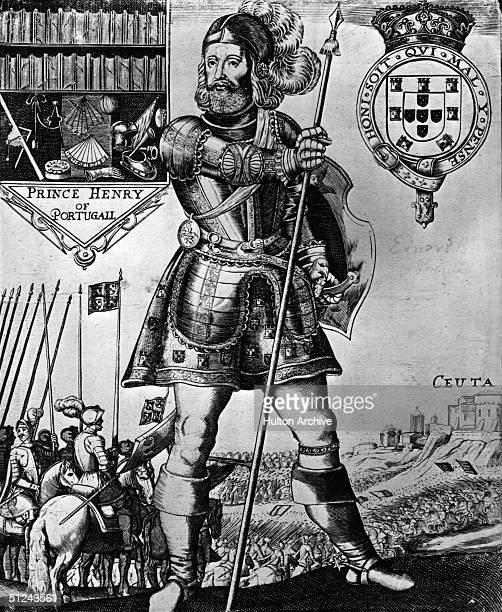 Circa 1440 Prince Henry of Portugal known as Henry the Navigator and victor at the battle of Ceuta wearing armour His coat of arms is shown and a...