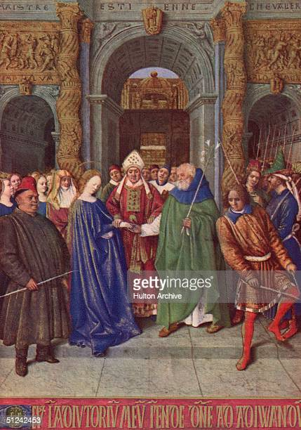 Circa 1455 The marriage of Joseph and Mary at the Temple of Solomon Original Publication From the Book of Hours executed by Jean Fouquet for Etienne...