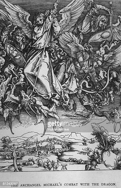 Circa 1497 Archangel Michael's fight with the dragon Original Artwork 'St Michael Fighting The Dragon' from the 'Apocalypse' series by Albrecht Durer...