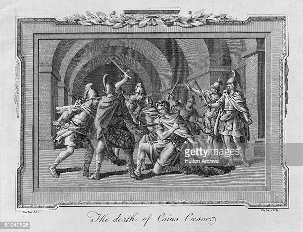 Circa 1500 An engraving of the killing of Julius Caesar Original Artwork Engraved by Taylor after Luyken