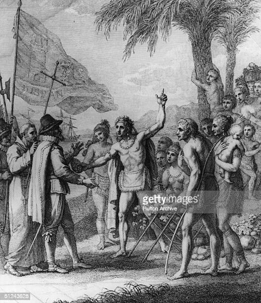 Circa 1500 An Indian Cacique of the Island of Cuba with Christopher Columbus Original Artwork An engraving by F Bartolozzi after a drawing by B West