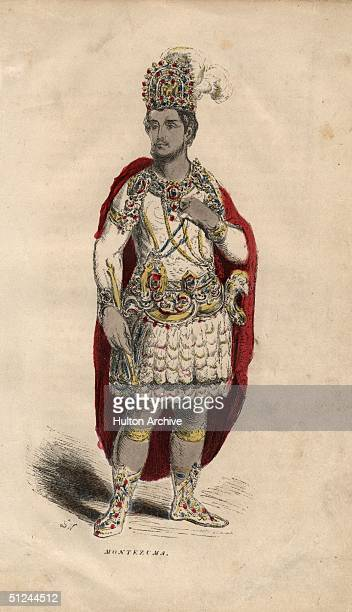 Circa 1502 Montezuma II the last Aztec Emperor who succeeded to the title in 1502 dressed in clothes inlaid with jewels