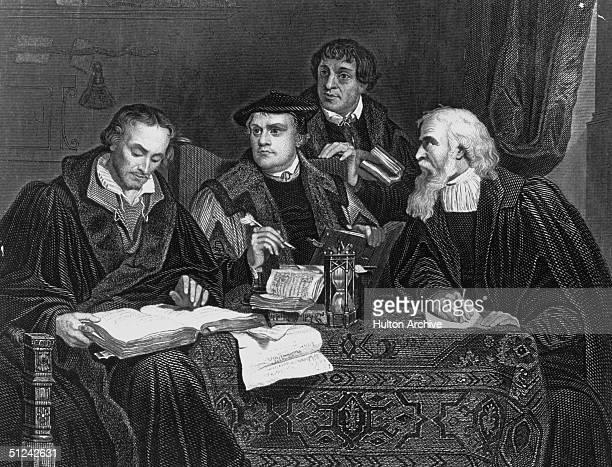 Circa 1510 German theologian and reformer Martin Luther second from left with other German reformers Melancthon Pomeranusand Cruciger Original...