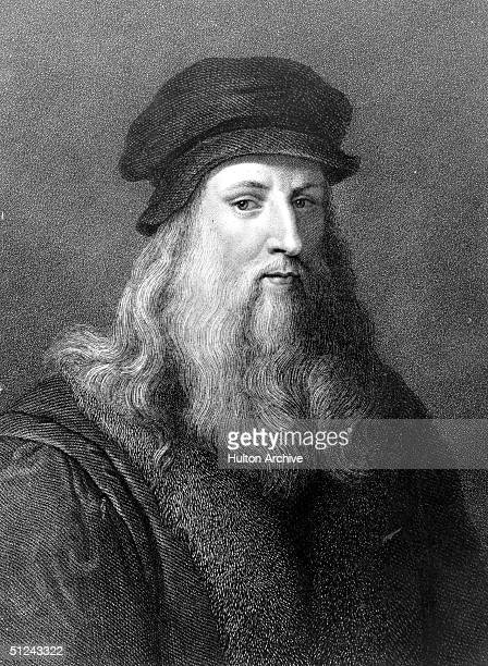 Circa 1510 The Italian painter sculptor architect and engineer Leonardo da Vinci Original Artwork Engraving by J Posselwhite after an engraving by...